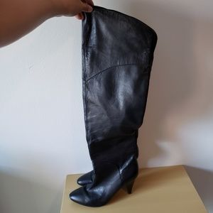 Guess Over The Knee Black Leather Boots 7.5